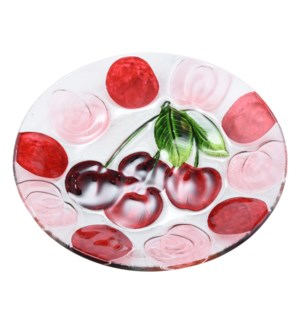 Round Cherry Glass Plate 10in                                643700350404