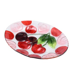 Oval Cherry Glass Plate 16in                                 643700350411