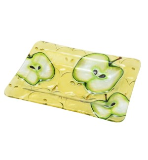 Rectangular Apple Glass Plate 12in                           643700350596