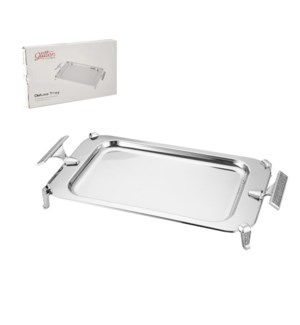 Rectangular Serving Tray SS 21x12in Silver Color             643700351012