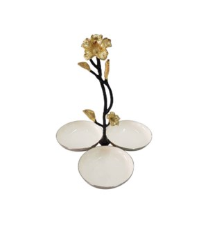 Beige Enamel Triple Nut Dish 7x7x8in                         643700351227