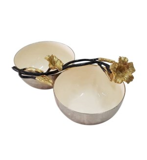 Beige Enamel Double Bowl 8x4x3in                             643700351258