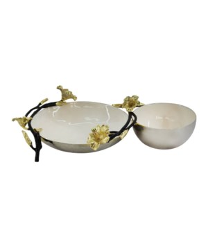 Beige Enamel Double Bowl 12x7x3in                            643700351289