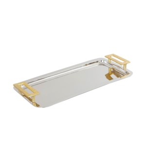Serving Tray 16.5x7in Gold Rim                               643700351418