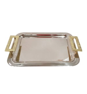 Rect. Tray with Handle 16.5x11x2in Gold Rim                  643700351432