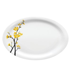 Melamine Oval Serving Platter 13in Yellow Orchid Flower      643700351937