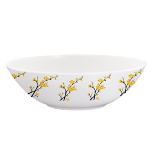 Melamine Serving Bowl Large 8.5in Yellow Orchid Flower       643700351951