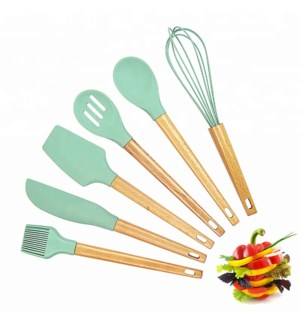 Baking Tool 6pc Set Silicone with Beech Wood Handle          643700353078