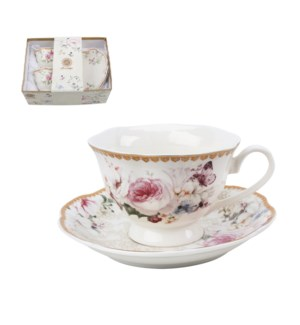 """""""Tea cup and saucer 6 by 6, 7.5oz New Bone China""""            643700355300"""