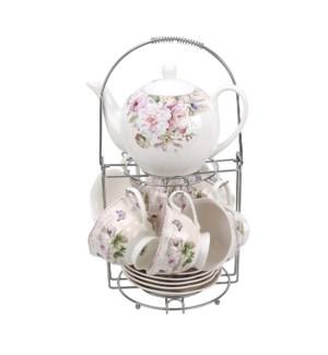 Tea Set 13pc with rack New Bone China                        643700355379