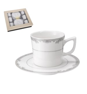"""""""Coffee Cup and Saucer 6 by 6,3.5 oz Porcelain""""              643700356468"""