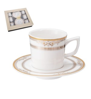 """""""Coffee Cup and Saucer 6 by 6,3.5 oz Porcelain""""              643700356475"""