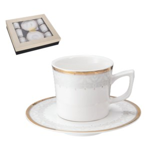 """""""Coffee Cup and Saucer 6 by 6,3.5 oz Porcelain""""              643700356482"""