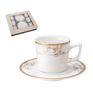 """""""Coffee Cup and Saucer 6 by 6,3.5 oz Porcelain""""              643700356505"""