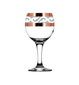 """Wine Glass 6pc set with """"Lyre"""" pattern,9 oz,Gold""         643700357359"