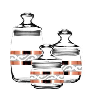"""""""Glass Bulk Cans 3pc set with """"""""Lyre"""""""" 37.5 oz,17 oz,14.5 oz 643700357397"""