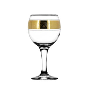 """Wine Glass 6pc set with """"Pyramid"""" pattern 9 oz,Gold color 643700357519"