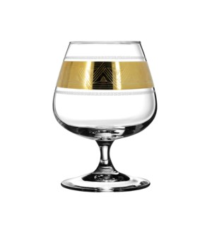 """""""Brandy Glass 6pc set with a """"""""Pyramid"""""""" 14oz,Gold color """"   643700357533"""
