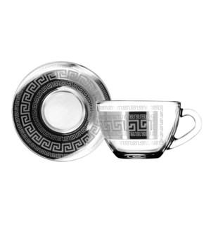 Tea cups and saucer set  6x6  Baroque 8.5oz Silver Color     643700357632