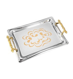 Serving Tray 2pc set 17.5 in and 14 in Iron gold color patte 643700358042