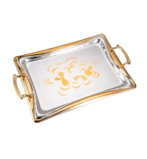 Serving Tray 2pc set 17.5 in and 14 in Iron Spray gold on ed 643700358028