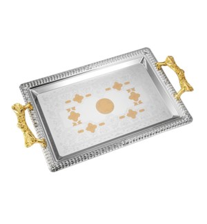 Serving Tray 2pc set 17.5 in and 14 in Iron Gold pattern Gol 643700358073