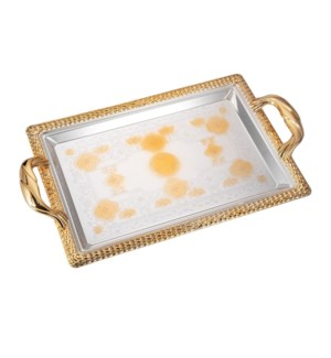 Serving Tray 2pc set 17.5 in and 14 in Iron Spray gold on ed 643700358059