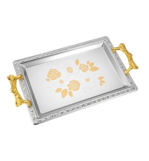 Serving Tray 2pc set 17.5 in and 14 in Iron Gold pattern Gol 643700358134