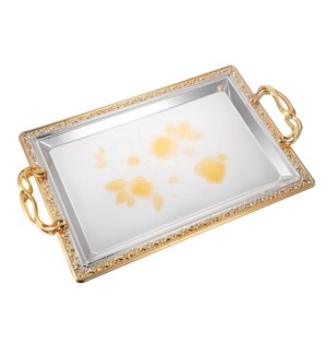Serving Tray 2pc set 17.5 in and 14 in Iron Spray gold on ed 643700358110