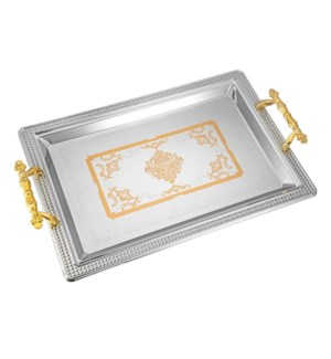 Serving Tray 2pc set 17.5 in and 14 in Iron Gold pattern Gol 643700358165