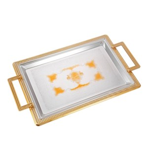 Serving Tray 2pc set 17.5 in and 14 in Iron Spray gold on ed 643700358141