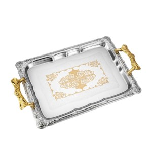 Serving Tray 2pc set 17.5 in and 14 in Iron Gold pattern Gol 643700358189