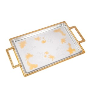 Serving Tray 2pc set 17 in and 14 in Iron Spray gold on edge 643700358196