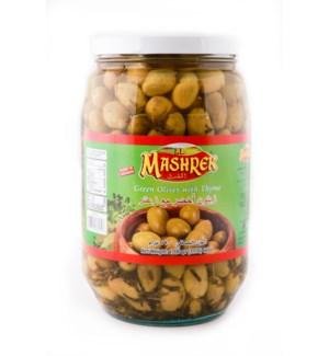 Al Mashrek Green Olives with Thyme 60oz 1700g                643700361318