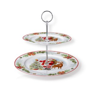 New Bone China Round Cake Stand 2 Tier 7.5in and 10.5in with 643700373182