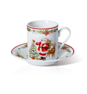 Porcelain 6 sets Coffee Cup and Saucer 3.5oz with Christmas  643700372864