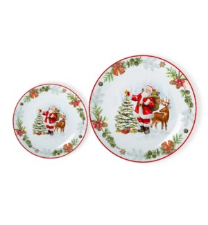 New Bone China Plate 7pc Set 8in and 10.5in with Christmas D 643700372956