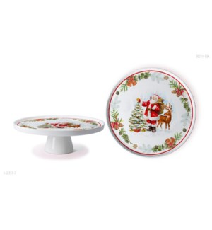 New Bone China Serving Platter 11in with Stand Christmas Des 643700372918