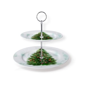 New Bone China Round Cake Stand 2 Tier 7.5in and 10.5in with 643700373199