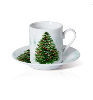 Porcelain Coffee Cup and Saucer 6 by 6. 3.5oz with Christmas 643700372871