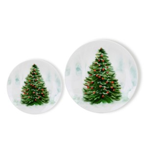 New Bone China Plate 7pc Set 8in and 10.5in with Christmas D 643700372963