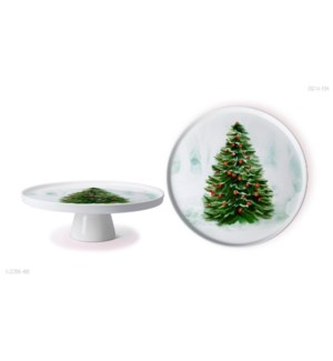 New Bone China Serving Platter 11in with StandChristmas Desi 643700372925