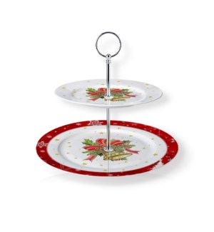 New Bone China Round Cake Stand 2 Tier 7.5in and 10.5in with 643700373205