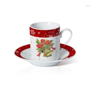 Porcelain Coffee Cup and Saucer 6 by 6. 3.5oz with Christmas 643700372888