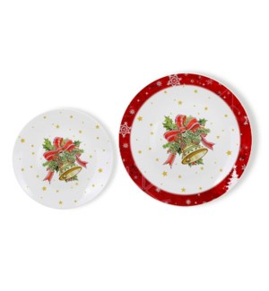 New Bone China Plate 7pc Set 8in and 10.5in with Christmas D 643700372970