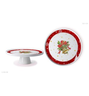 New Bone China Serving Platter 11in with StandChristmas Desi 643700372932