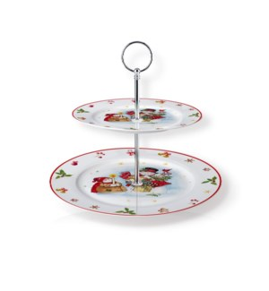 New Bone China Round Cake Stand 2 Tier 7.5in and 10.5in with 643700373212