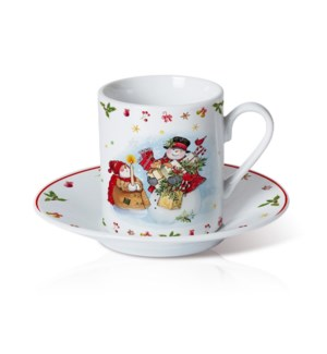 Porcelain Coffee Cup and Saucer 6 by 6. 3.5oz with Christmas 643700372895