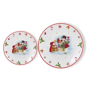 New Bone China Plate 7pc Set 8in and 10.5in with Christmas D 643700372987
