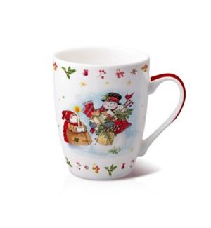 New Bone China Mug 14 oz With Christmas Design               643700372857
